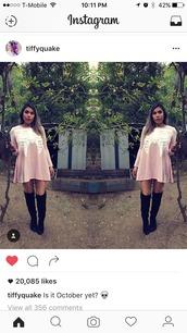 dress,pink,pink dress,boots,ribcage,black,knee high boots,skeleton,punk dress,rib,ribs,knee high,rib cage,sweater dress