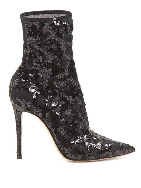 Gianvito Rossi - Sequin Embellished 105 Ankle Boots - Womens - Black