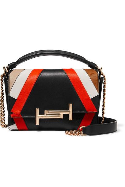 TOD'S hair bag shoulder bag leather black red