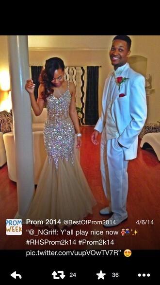 dress prom dress sparkly dress rhinestones white beige long