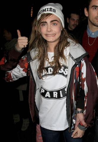 jacket cara delevingne orange homies fall outfits fall winter hat shirt