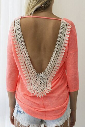 shirt lace open back neon peach sexy summer casual beach