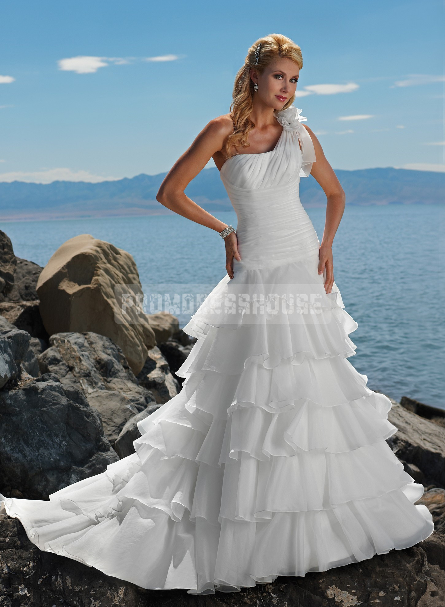 e Shoulder Dropped Waist Organza Floor Length Tiers
