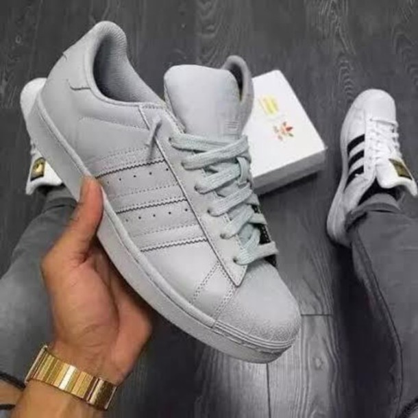 03a02e24925 shoes grey adidas grey gray shoes gray adidas grey adidas sneakers adidas  superstars superstar fashion new