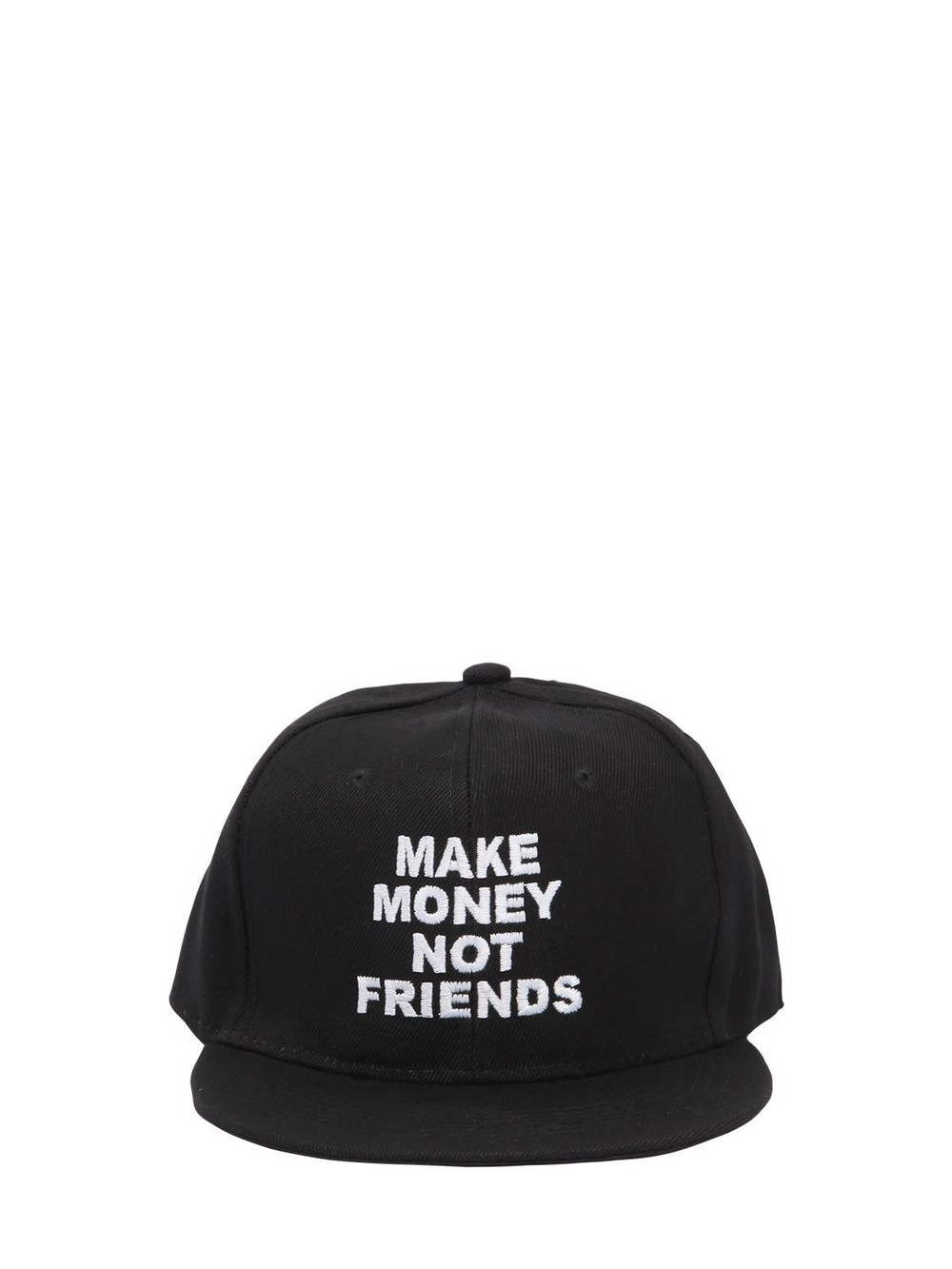 MAKE MONEY NOT FRIENDS Logo Embroidered Baseball Hat in black