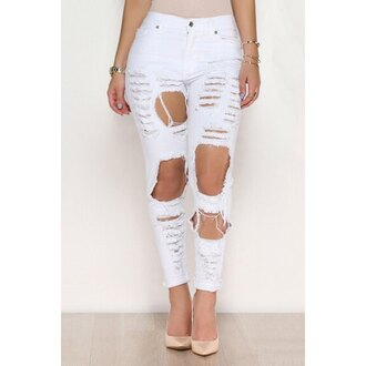 pants white ripped fashion trendy style summer trendsgal.com