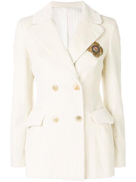 blazer double breasted women white cotton jacket