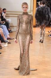 dress,see through,elegant dress,jeniffer lopez,glitter dress,gold sequins dress,long sleeve dress,designer dress,long prom dress,prom dress