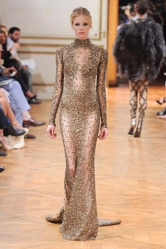 dress see through elegant dress jeniffer lopez glitter dress gold sequins dress long sleeve dress designer dress long prom dress prom dress