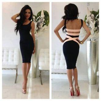 dress kcloth bandage dress little black dress bodycon dress red cut-out back buttons bow cute open back cut out black dress