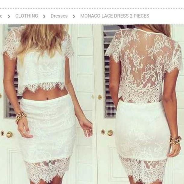 dress two-piece lace white