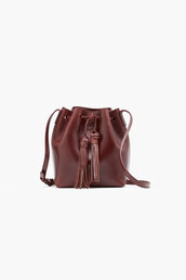 bag,bucket bag,burgundy