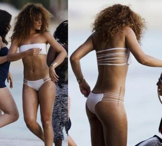 swimwear rihanna white white bikini beach bikini 2 piece bathing suit