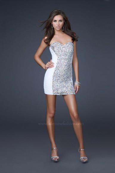 white dress sparkly dress