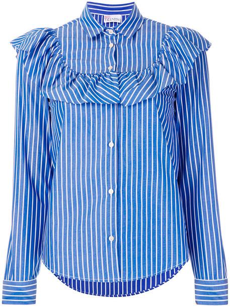 RED VALENTINO shirt women cotton blue top