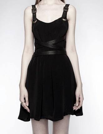 dress black dress goth goth dress leather awesome! little black dress leather straps