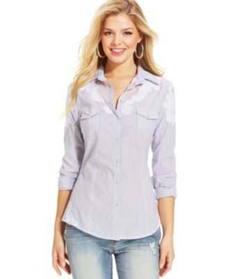 GUESS Charlotte Denim Shirt - Tops - Women - Macy's