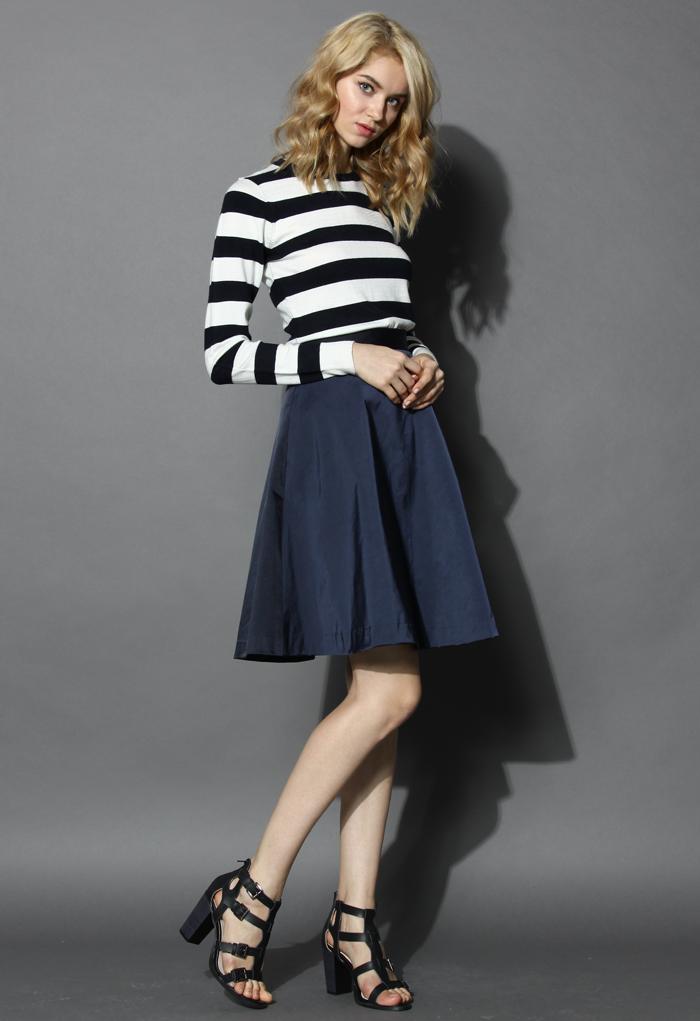 Basic Dark Blue A-line Skirt - Retro, Indie and Unique Fashion