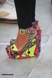 shoes,yellow,beaded,buckles,wedges,blue nails,funny,black pants,leggings,party,leopard print,summer shoes,multicolor,wedge sandals
