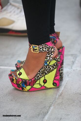 shoes yellow beaded buckles wedges blue nails funny black pants leggings party leopard print summer shoes multicolor wedge sandals