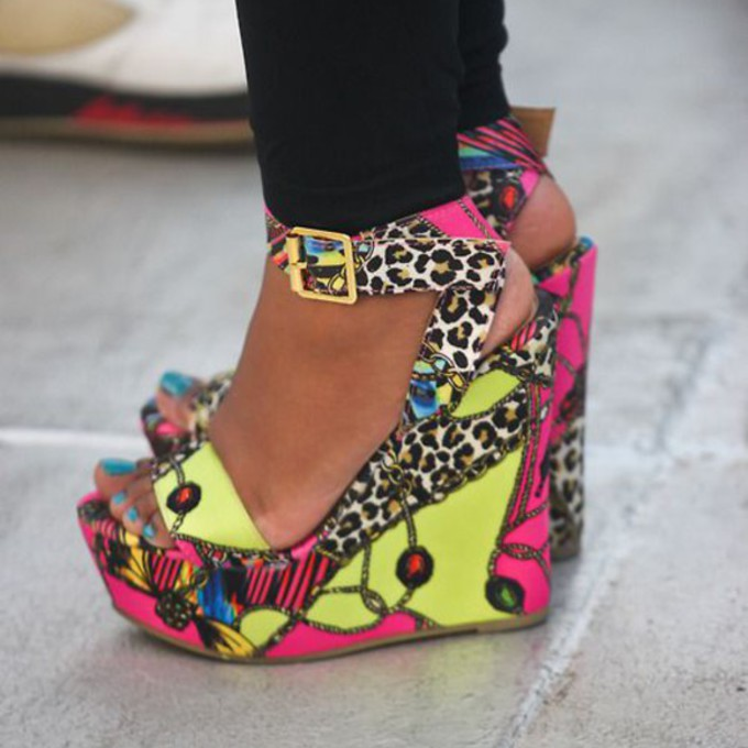 Wedges Shoes Yellow Leopard