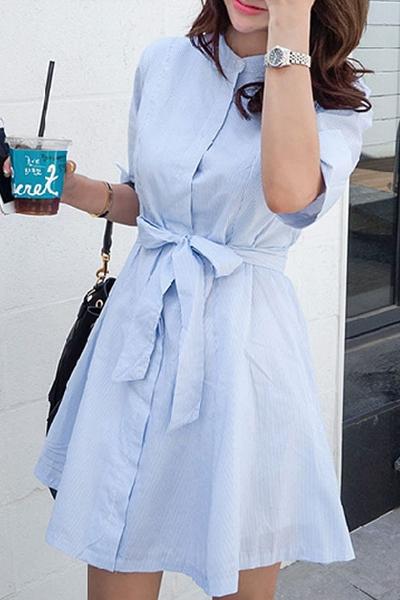 Blue Stripe Stand Neck Half Sleeve Dress