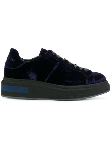 Manuel Barceló women sneakers lace leather blue velvet shoes