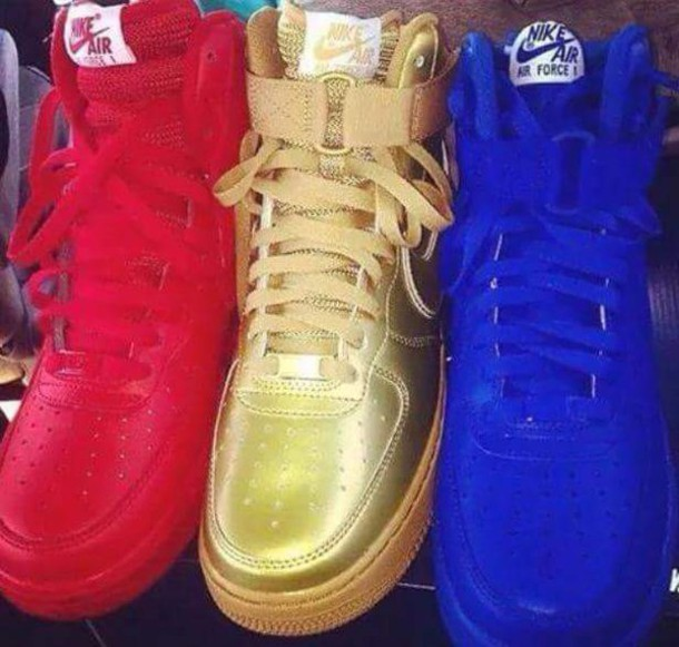 shoes gold blue red nike air force 1 color/pattern flavored