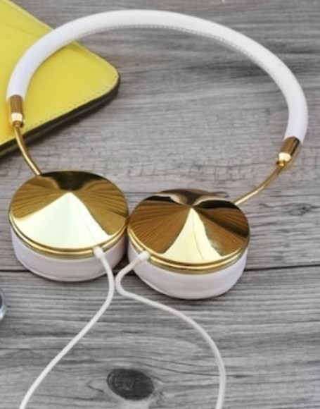 headphones jewels gold