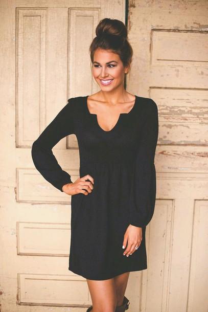 dress long sleeves scoop vneck dress black dress spring black dress short dress