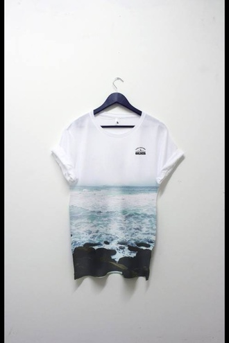 t-shirt sea ocean blue cold winter outfits hipster grunge shirt pale sad sad quote sad face sad chanel goth hipster alone swag menswear mens t-shirt clothes dope clothing