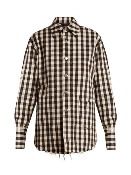 Helmut Lang jacket flannel jacket quilted cotton gingham flannel white black