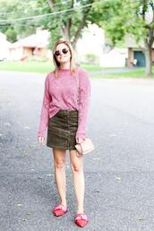 kim tuttle,the knotted chain - a style blog by kim tuttle,blogger,sweater,skirt,shoes,bag