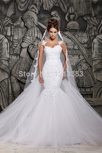 dress wedding clothes evening dress wedding dress mermaid wedding dress bridal gown chapel train satin bridal dress wedding lace wedding dress vintage wedding dress white wedding dress ivory wedding vestido de noiva
