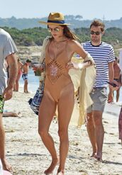 swimwear,hat,beach,summer,one piece swimsuit,alessandra ambrosio,model off-duty