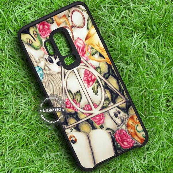 The Deathly Hallows Floral Art Harry Potter iPhone X 8 7 Plus 6s Cases Samsung Galaxy S9 S8 Plus S7 edge NOTE 8 Covers #SamsungS9 #iphoneX