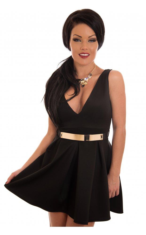 Luxe black plunge front gold belted mini skater dress