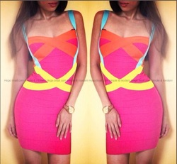 Online Shop 2014 New Hot Women 100% Rayon Criss-Cross Sexy Club Patchwork Pink Cocktail Dress Strap/Yellow/Orange Bandage Dress  HL047|Aliexpress Mobile