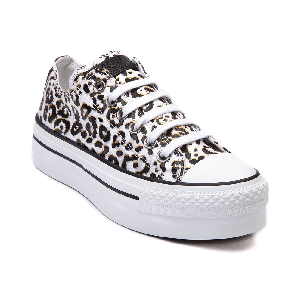 Womens Converse All Star Lo Platform Sneaker, White Leopard | Journeys Shoes