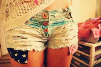 shorts short american flag american flag colorful america flag red blue hipster hippie clothes beautiful cute american shorts