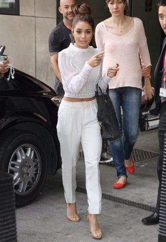 blouse white white crop tops clutch lace top white lace top vanessa hudgens