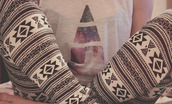 tank top,galaxy print,top,triangles,jeans