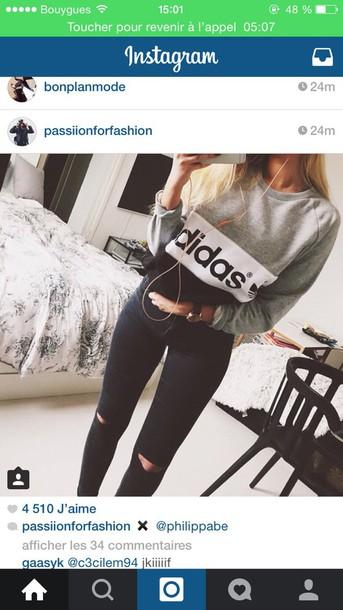 jeans adidas adidas sweater sweater skinny jeans