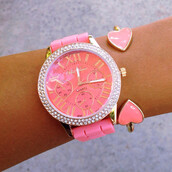 jewels,coral,pink,heart,cuff bracelet,watch,silicone,studs,sparkle,cute,roman numerals