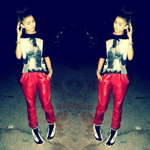 t-shirt zendaya tupac beautiful pants shirt