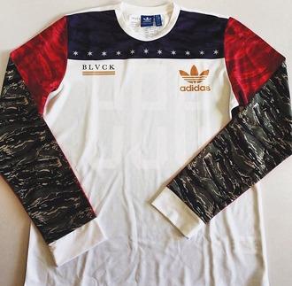shirt menswear mens shirt adidas sweater sweatshirt camouflage stars blvck t-shirt nike adidas shirt adidas t-shirt adidas tee red white and blue camo shirt