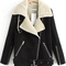 Black zipper pockets long sleeve lapel coat -shein(sheinside)