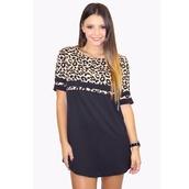 dress,leopard print,shift,leopard shirt,colour block,leopard dress,casual,style