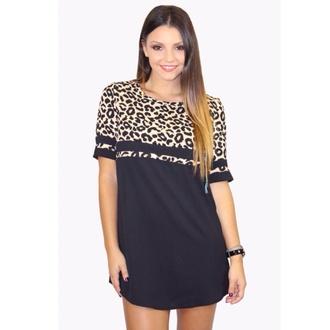 dress shift colour block leopard print leopard shirt leopard dress casual style