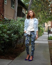 monkeyshines,blogger,white shirt,denim jacket,printed pants,jacket,pants,top,shoes